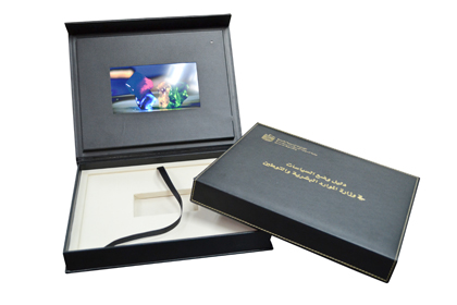 Custom cd dvd replication leather box set packaging video panel compartments